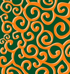 Pattern with orange stylish spiral curls on green vector