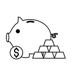 piggy bank money gold bars stock market vector image