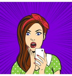 pop art surprised woman face with open mouth vector image
