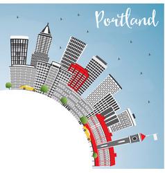 Portland skyline with gray buildings blue sky and vector
