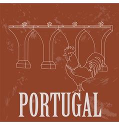 Portugal landmarks Retro styled image vector image