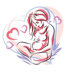 Pregnant female surrounded heart shape frame vector