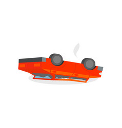 red broken car lies reverse on its the roof road vector image