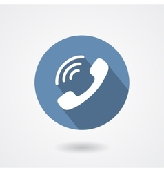 Ringing phone handset icon isolated on white vector