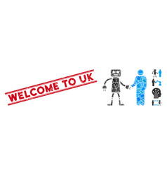 Robot human handshake mosaic and scratched welcome vector