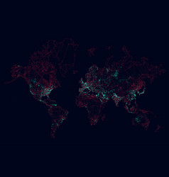 Sci-fi world map global connection futuristic vector