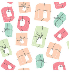 seamless pattern with colorful hygge gift boxes vector image