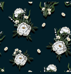 Seamless pattern with white peonies in vintage vector