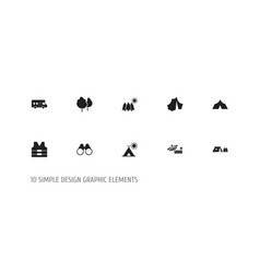 set of 10 editable travel icons includes symbols vector image