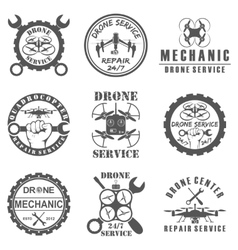 Set of drone logos badges emblems and design vector