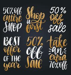 Set of handwritten sales phrases vector