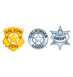 sheriff badges set railroad police california vector image