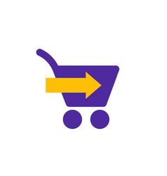 Shopping cart with arrow icon vector