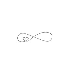 Sign infinity and heart icon element of vector