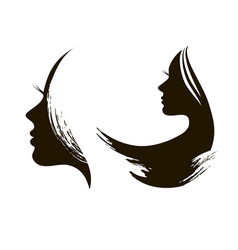 silhouette of womans head with waving hair vector image