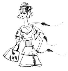 Sketch of girl in Gypsy dress Boho style Linear vector