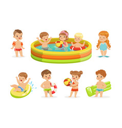 Small children having fun in water of the pool vector