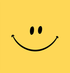 Smiling emoticon template on yellow vector