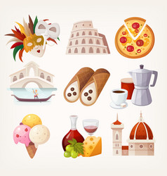 stickers with sights and famous food italy vector image