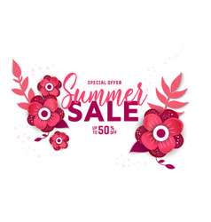 summer sale design with flowers vector image