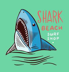 surf badge retro shark vintage surfer logo or vector image
