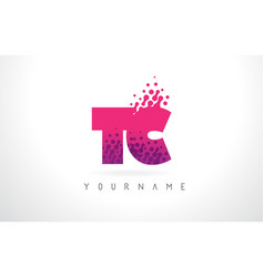 Tc t c letter logo with pink purple color and vector
