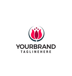 tulips logo design concept template vector image