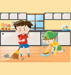 Two boys cleaning the kitchen at home vector