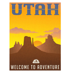 Utah monument valley travel poster vector