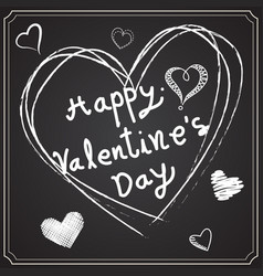 valentine day drawing on the blackboard vector image