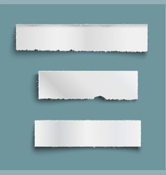 white ripped paper pieces with shadow empty paper vector image