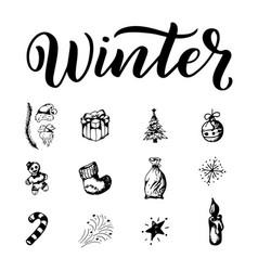 winter outline set season elements on white vector image