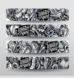 Winter sport hand drawn doodle banners set vector