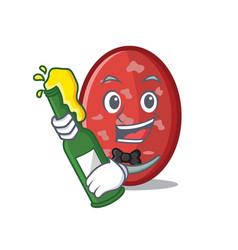 With beer salami mascot cartoon style vector
