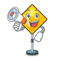 With megaphone harm warning sign shaped on cartoon vector