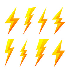 Yellow lightning bolt icons isolated on white vector
