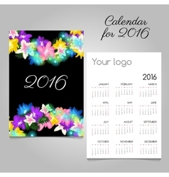 Calendar 2016 with a drawn colorful flowers vector
