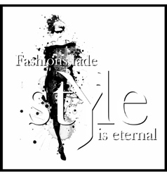 Fashion quote with modern girl in a dress vector image vector image