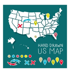 Hand drawn US map travel poster vector image vector image