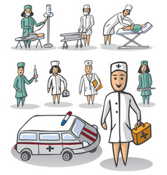 nurse and doctor on white background vector image