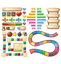 Set of game elements vector image vector image