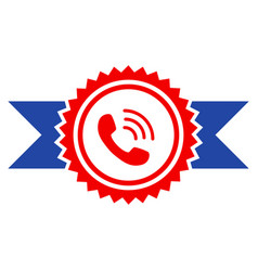 Call center stamp with ribbons flat icon vector