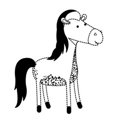 horse cartoon in black dotted silhouette vector image vector image