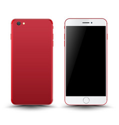 red smartphone mockup vector image