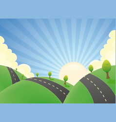 cartoon landscape road in the summer vector image vector image