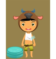 Cute boy water buffalo vector