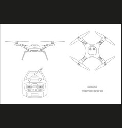 outline drawing of drone on a white background vector image