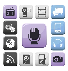 Video audio and multimedia buttons set vector image vector image