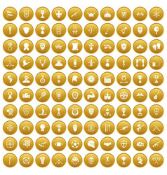 100 trophy and awards icons set gold vector