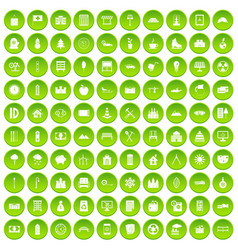 100 video icons set green circle vector